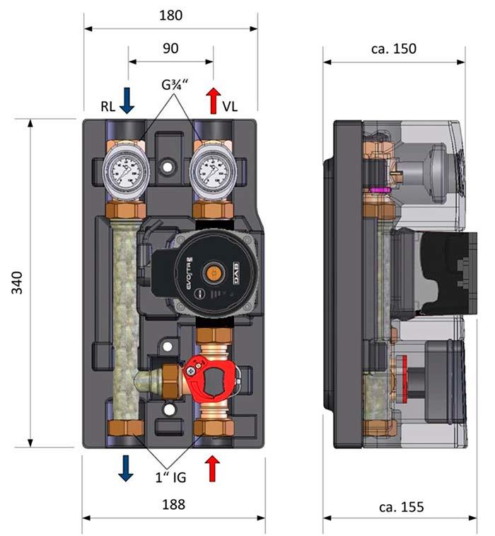 насосные модули DAB размеры