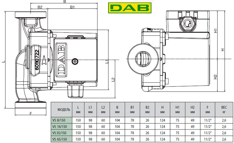 Размеры насосов DAB VS