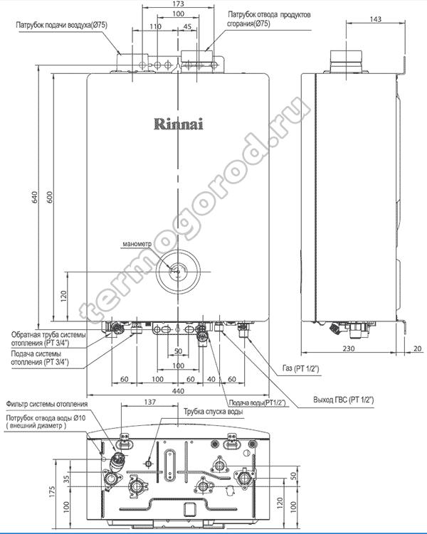 Габаритные и присоединительные размеры газовых котлов Rinnai  RB RMF