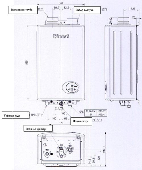 Габаритные размеры газовых колонок Rinnai RW