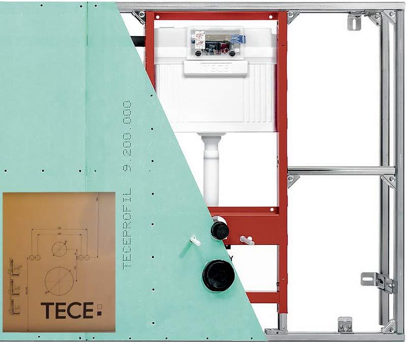 обшивка системы инсталляции tece гипсокартоном