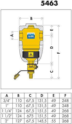 Дешламатор Caleffi DIRTMAG с магнитом размеры