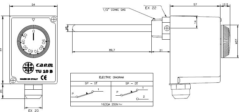 Размеры и электрическая схема подключения CAEM TU 10B