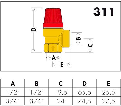 Габаритные и присоединительные размеры клапанов Caleffi серии 311