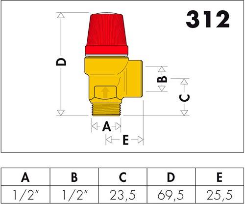 Габаритные и присоединительные размеры клапанов Caleffi серии 312