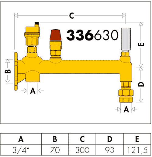Геометрические и присоединительные размеры Caleffi 336630