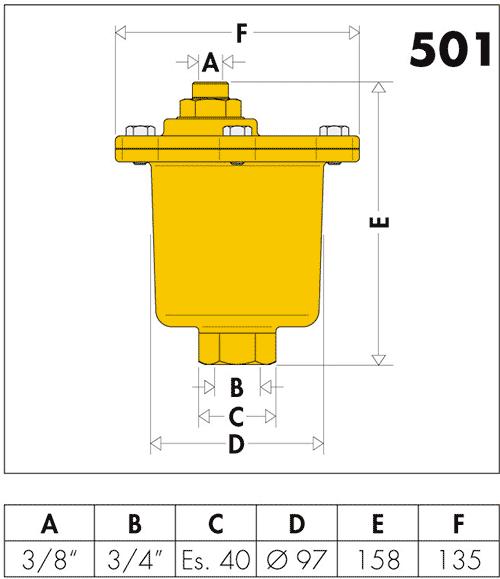 Габаритные и присоединительные размеры Caleffi Maxcal 501