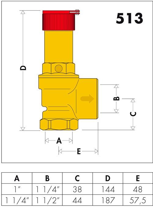 Габаритные и присоединительные размеры клапанов Caleffi серии 513