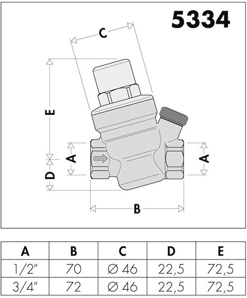 Габаритные и установочные размеры редукционного клапана Caleffi 533441h