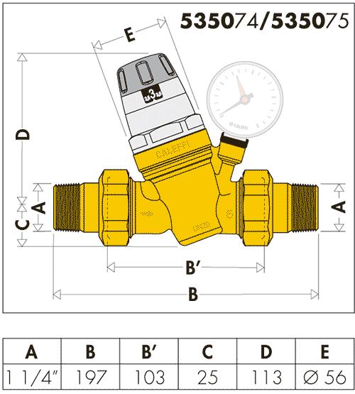 Габаритные и присоединительные размеры редукционного клапана Caleffi 5350