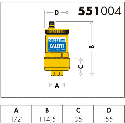 Геометрические и присоединительные размеры воздухоудалителя Caleffi Discalair 551004