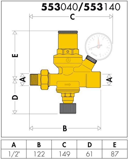 Геометрические и присоединительные размеры Caleffi 553140