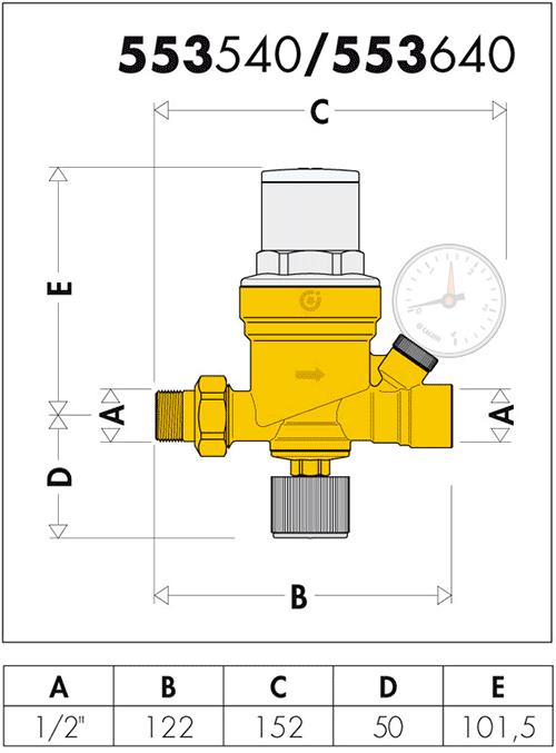 Геометрические и присоединительные размеры Caleffi 553640, 553540