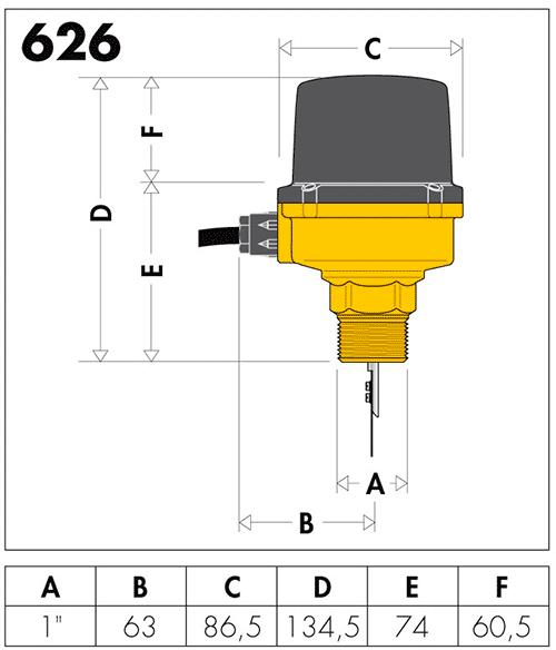 Датчик потока caleffi 626600 размеры