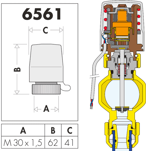 Габаритные и установочные размеры Caleffi 6561
