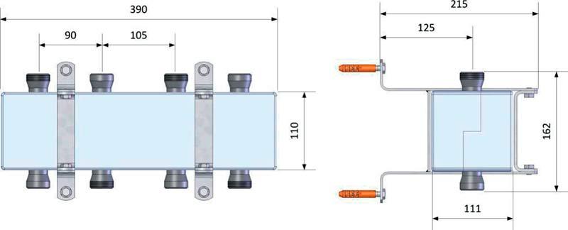 Геометрические и присоединительные размеры распределительного коллектора DAB на 3 контура