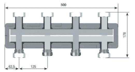 Геометрические и присоединительные размеры распределительного коллектора DAB DN25