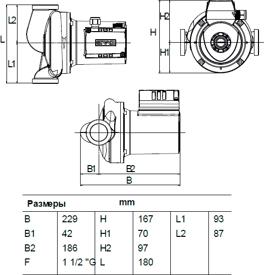 Габаритные и присоединительные размеры DAB A 110/180