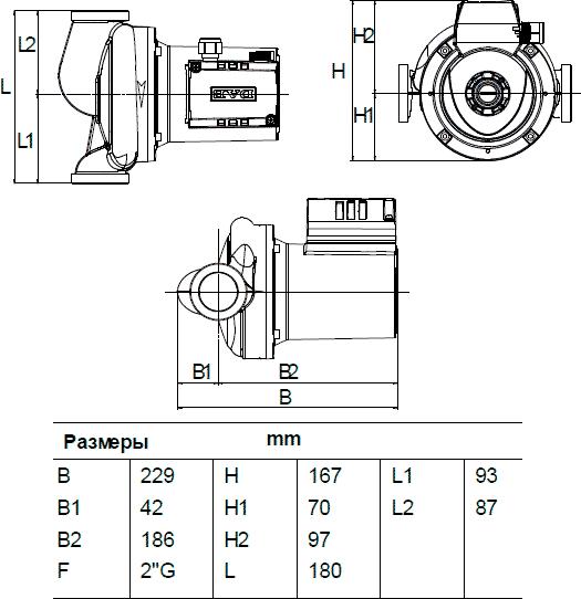 Габаритные и присоединительные размеры DAB A 110/180 X