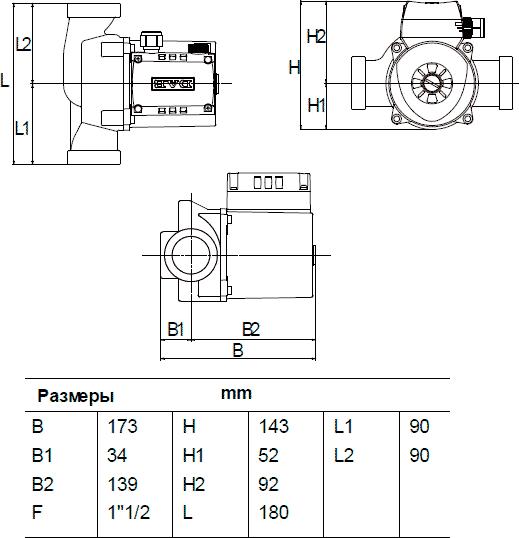 Габаритные и присоединительные размеры DAB A 50/180