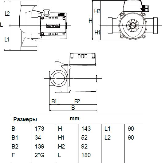 Габаритные и присоединительные размеры DAB A 50/180 x
