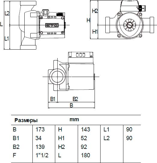 Габаритные и присоединительные размеры DAB A 56/180