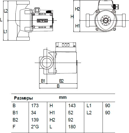 Габаритные и присоединительные размеры DAB A 56/180 XM