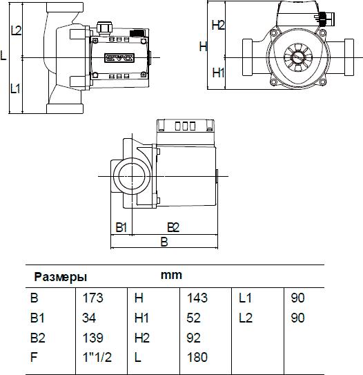 Габаритные и присоединительные размеры DAB A 80/180