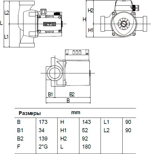 Габаритные и присоединительные размеры DAB A 80/180 XM