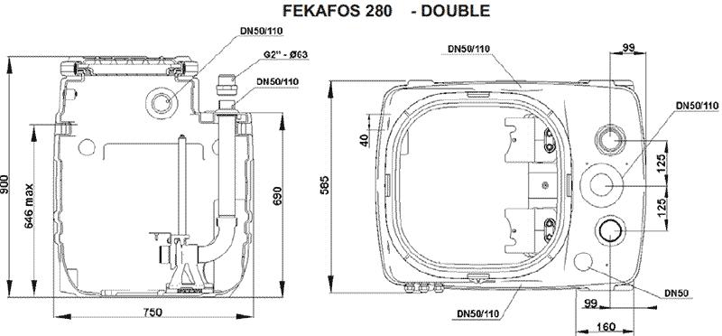 Геометрические и присоединительные размеры FEKAFOS 280 DOUBLE