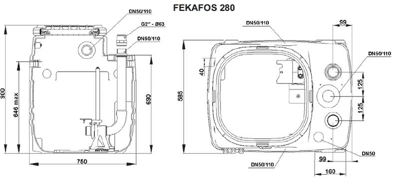 Геометрические и присоединительные размеры FEKAFOS 280