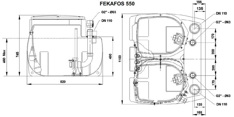 Геометрические и присоединительные размеры FEKAFOS 550