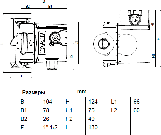 Габаритные и присоединительные размеры DAB VA 25/130
