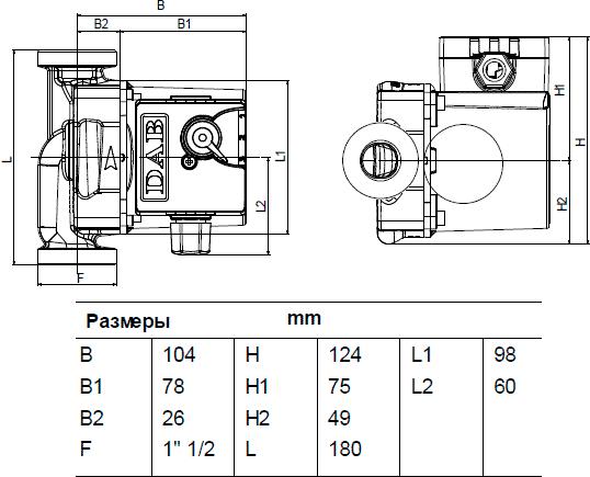 Габаритные и присоединительные размеры DAB VА 25/180