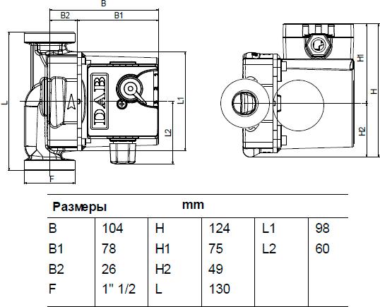 Габаритные и присоединительные размеры DAB VA 35/130