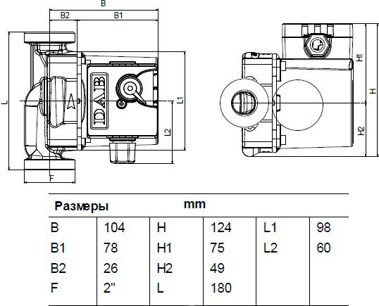 Габаритные и присоединительные размеры DAB VA 35/180 X