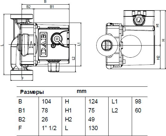 Габаритные и присоединительные размеры DAB VA 55/130