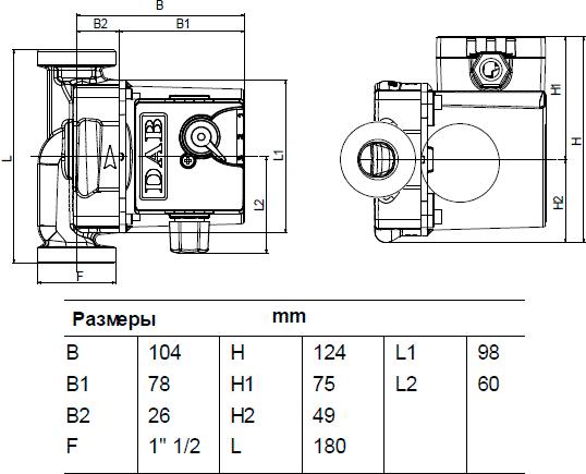 Габаритные и присоединительные размеры DAB VA 55/180