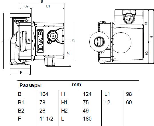 Габаритные и присоединительные размеры DAB VA 65/180