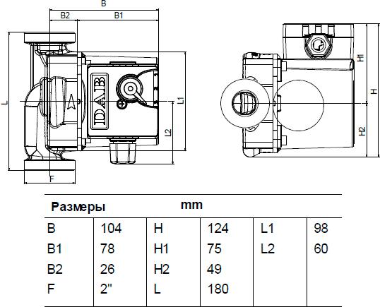 Габаритные и присоединительные размеры DAB VA 65/180 X