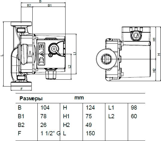 Геометрические размеры DAB VS 35/150 M