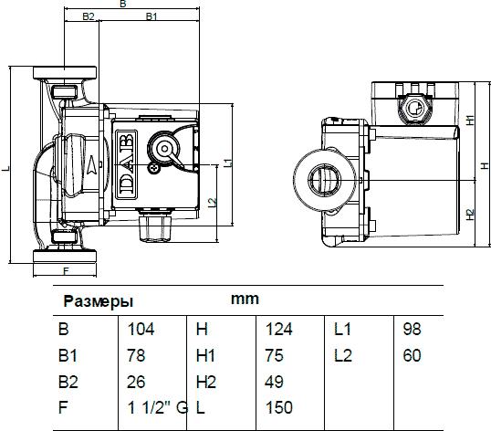 Геометрические размеры DAB VS 65/150 M
