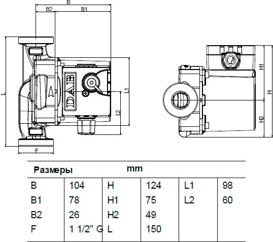 Геометрические размеры DAB VS 8/150 M
