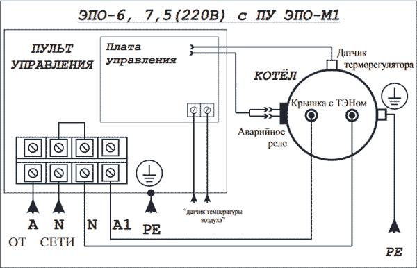 Схема подключения Эван ЭПО 6 7,5 220