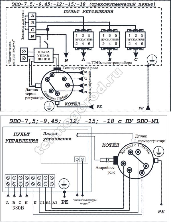 Схема подключения Эван ЭПО 7,5 18 380