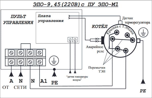 Схема подключения Эван ЭПО 9,45 220