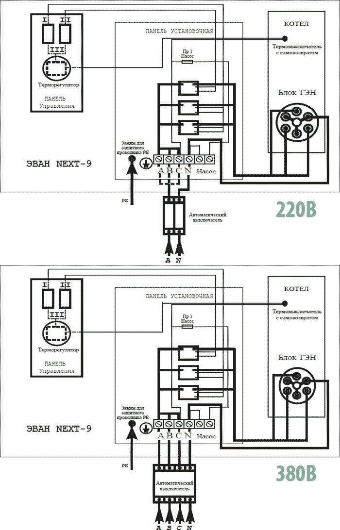Схема подключения Эван NEXT 9
