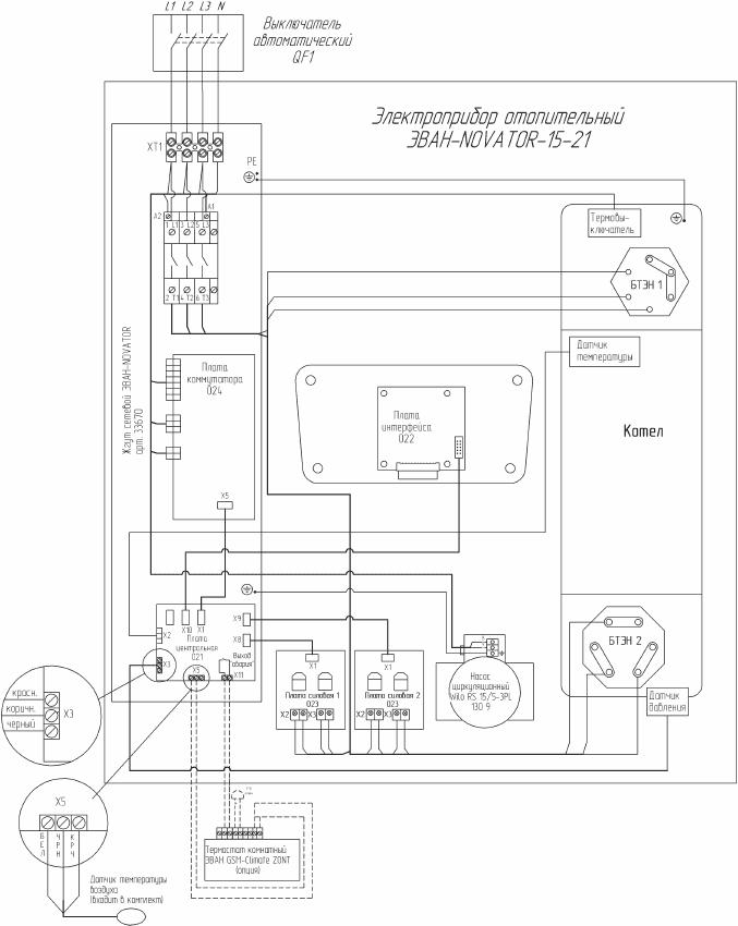 Схема подключения электрокотла Эван WARMOS NOVATOR 21
