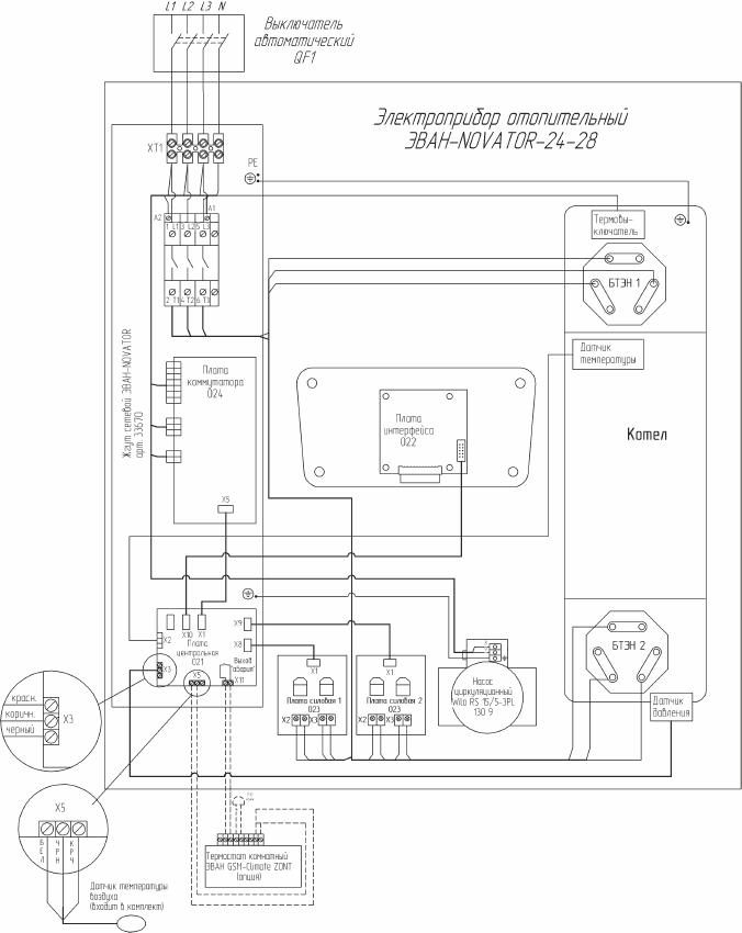 Схема подключения электрокотла Эван WARMOS NOVATOR 28
