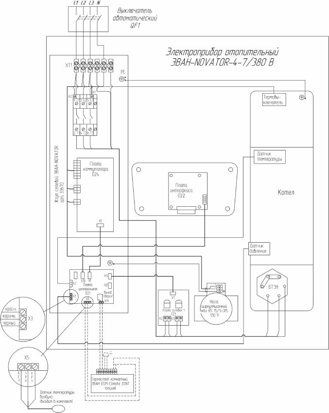 Схема подключения электрокотла Эван WARMOS NOVATOR 4...7 к сети 380 Вольт